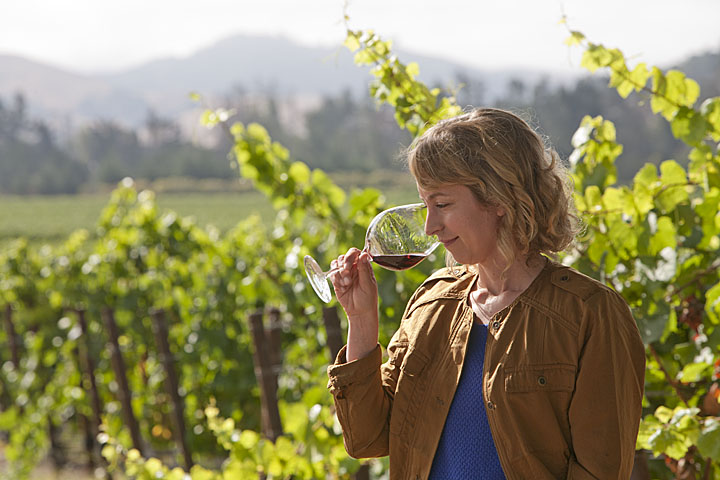 Lincourt Winemaker Lorna Kreutz Sampling Red Wine in the Vineyard