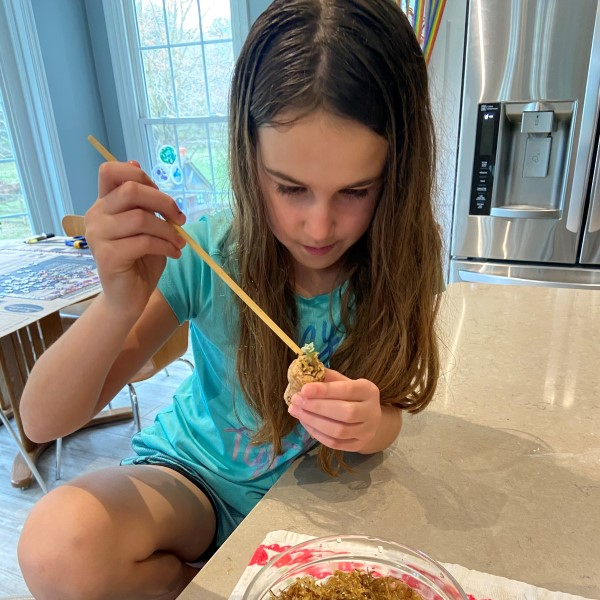 Kaia Using Chopsticks for Sphagnum Moss