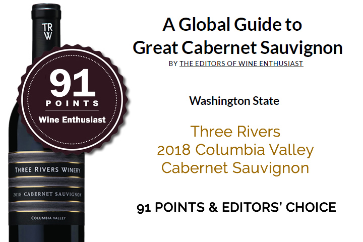 2018 Three Rivers Columbia Cabernet in Global Guide to Great Cabernets