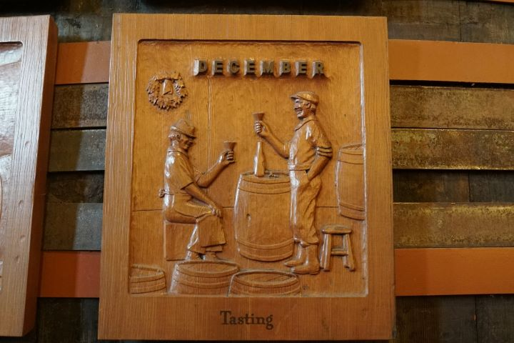Wood Carving from Sebastiani Vintner's Calendar: December, Tasting