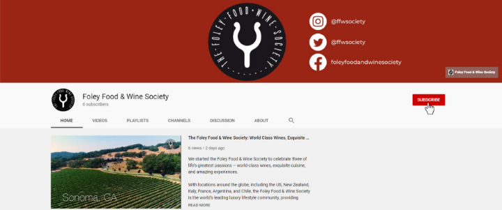 Foley Food and Wine Society YouTube Channel