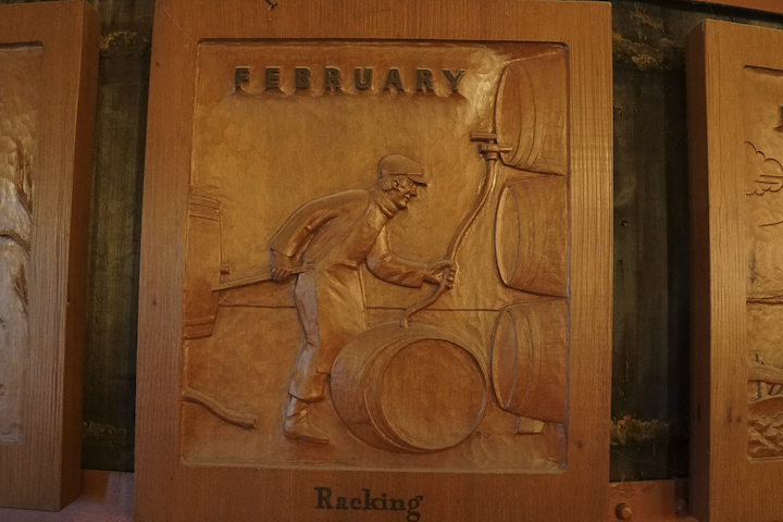 Woodcarving of wine racking process in February