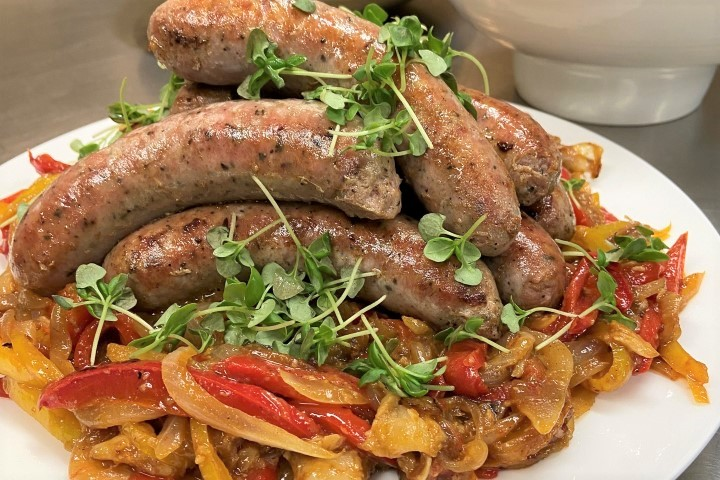 Plated Sausages and Peppers