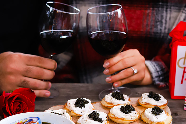 Enjoy Wine and Caviar this Valentine's Day