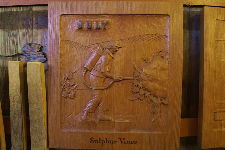 Wood Carving at Sebastiani labeled sulphuring