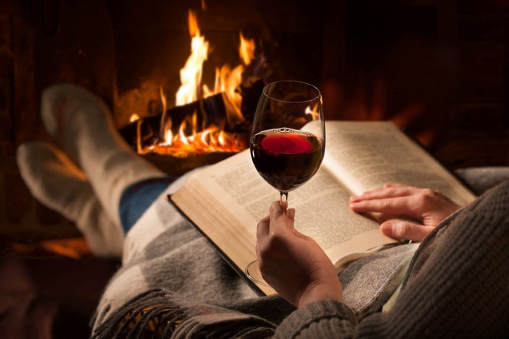Wine and a Book by the Fire