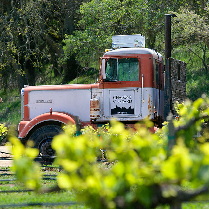 Old Delivery Truck in Field with Chalone Logo on Doors