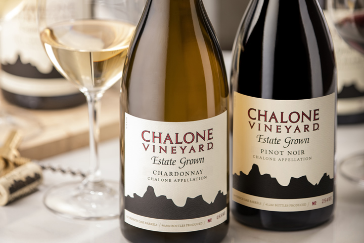 Bottles of Chalone Chardonnay and Pinot Noir