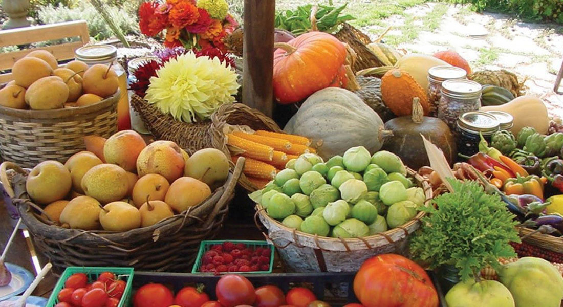 Farmers Market with Ripe Fruits and Vegetables