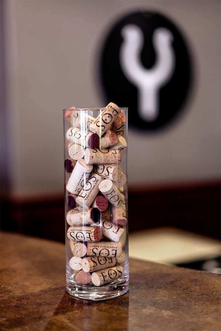 Vase Filled with Eos Wine Corks