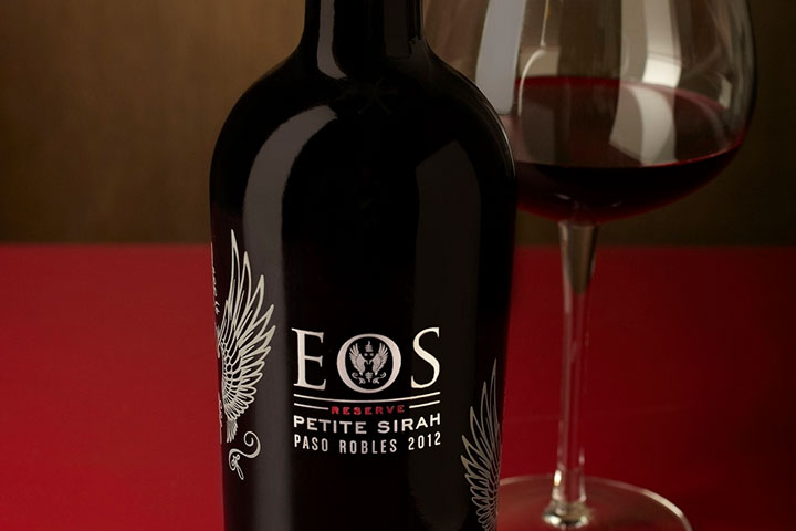 Bottle and Glass of Eos Petite Sirah
