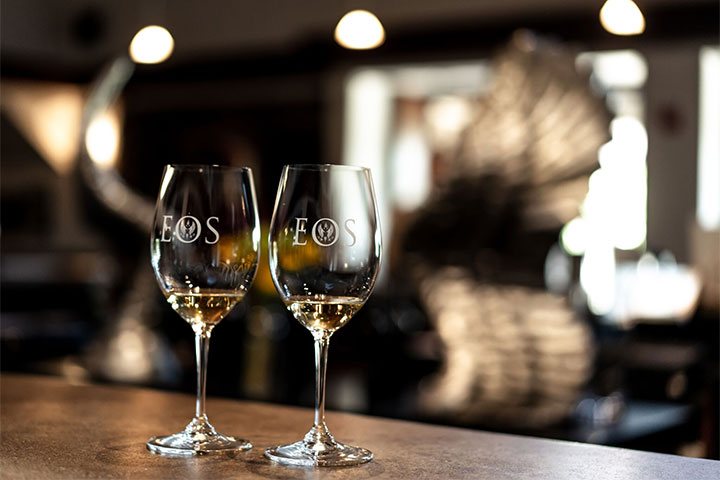 Two Eos Wine Glasses on the Tasting Bar