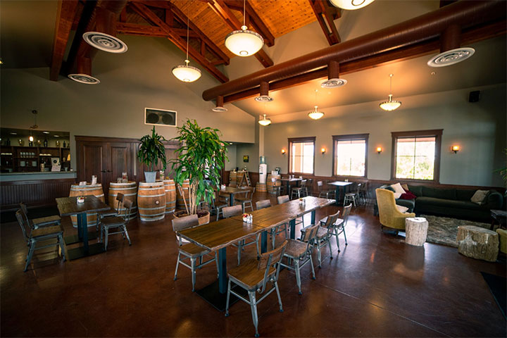 Tasting Bar and Tables in the Eos Tasting Room in Paso Robles California