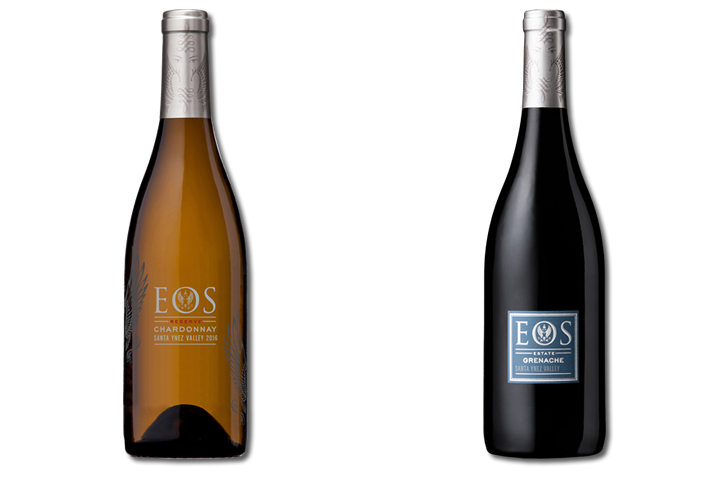 Two Bottles of Eos Red and White Wines