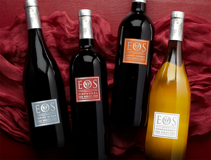 Four Bottles of Eos Wines Artfully Arranged