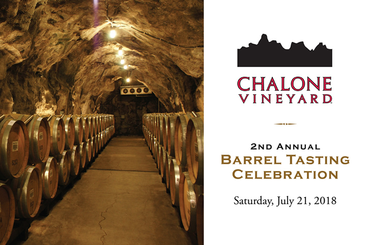 2nd Annual Chalone Barrel Tasting Celebration - Saturday, July 21, 2018 from 2-5pm
