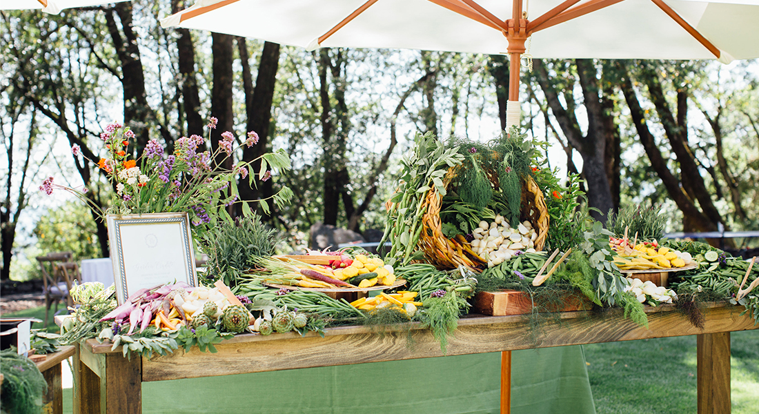 Fresh Fruits and Vegetables Arranged on a Table