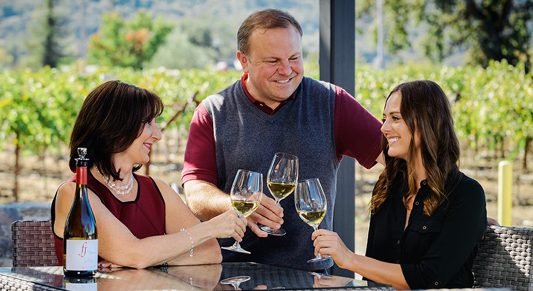 3 People Toasting with Wine