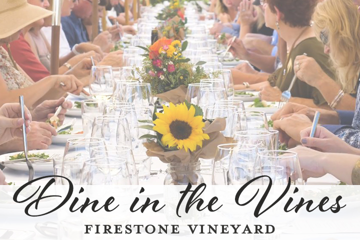 A group of friends enjoying wine and a meal among vineyards, with text reading, Dine in the Vines at Crossroads Estate at Firestone Vineyard.
