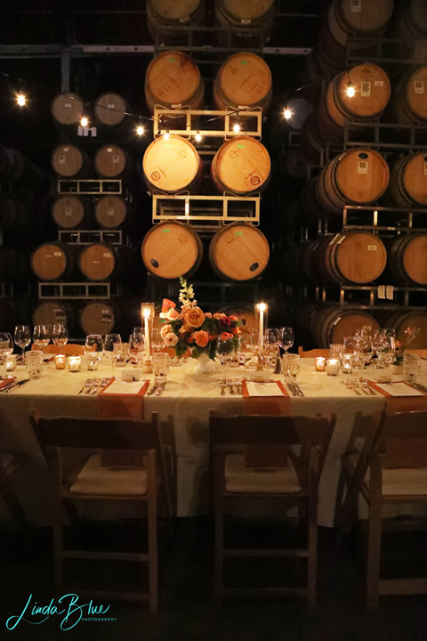Candles and a String of Lights in a Barrel Room