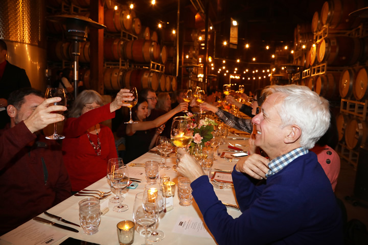 Dinner Guests Cheers at Valentine