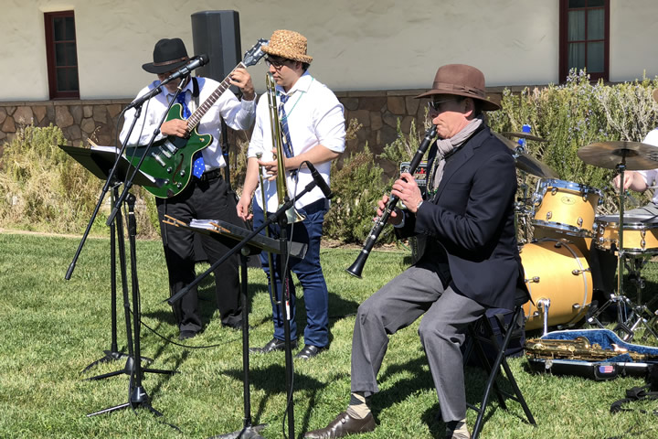 A Jazz band playing at the Foley Estates Mardi Gras Party.