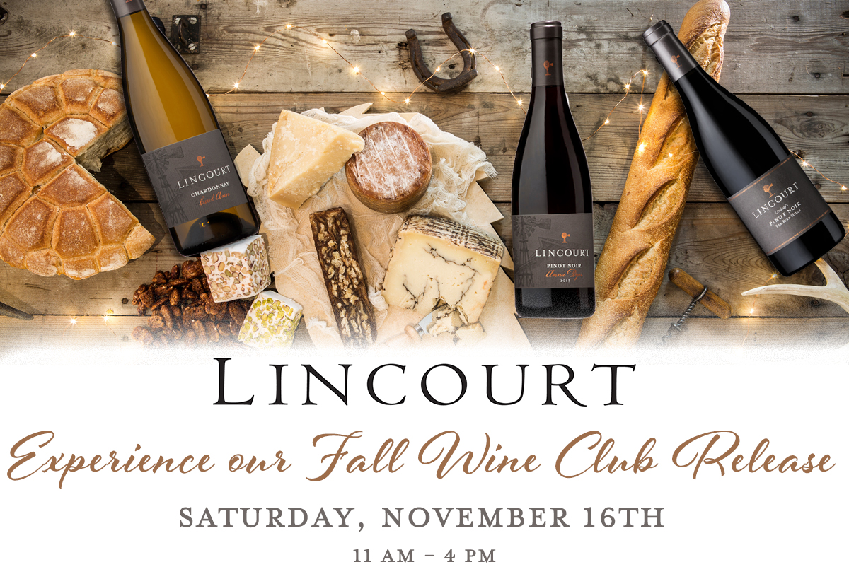"A table with cheese, charcuterie and Lincourt Wines, with text overlay, ""Lincourt - Experience our Fall Wine Club Release - Saturday, November 16th - 11 AM - 4 PM"""
