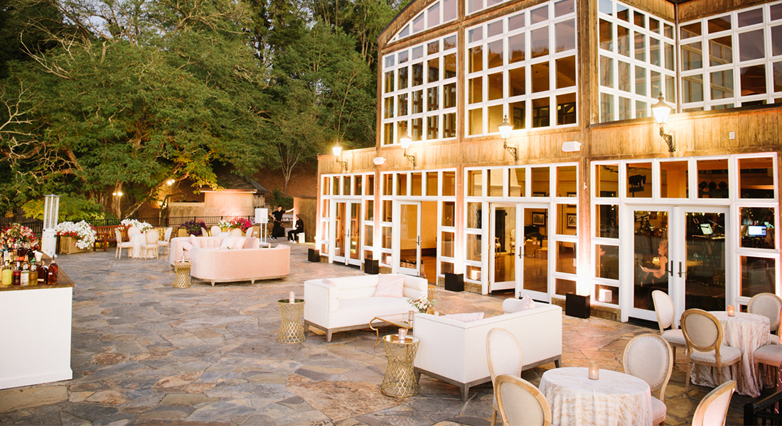 Patio at Chalk Hill Set For an Event