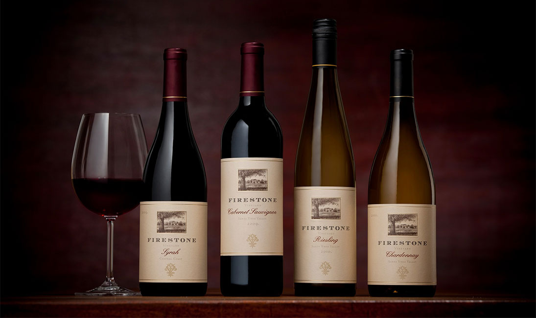 Five Firestone Vineyard Bottles of Various Varietals