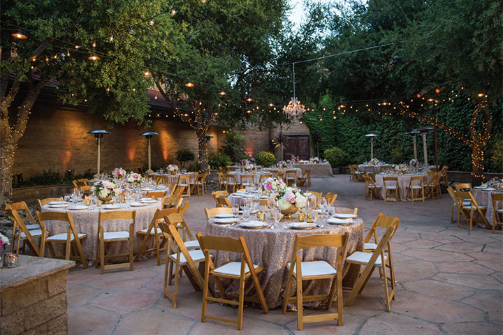 Firestone Vineyard's Courtyard with Elegntly Dressed Round Tables