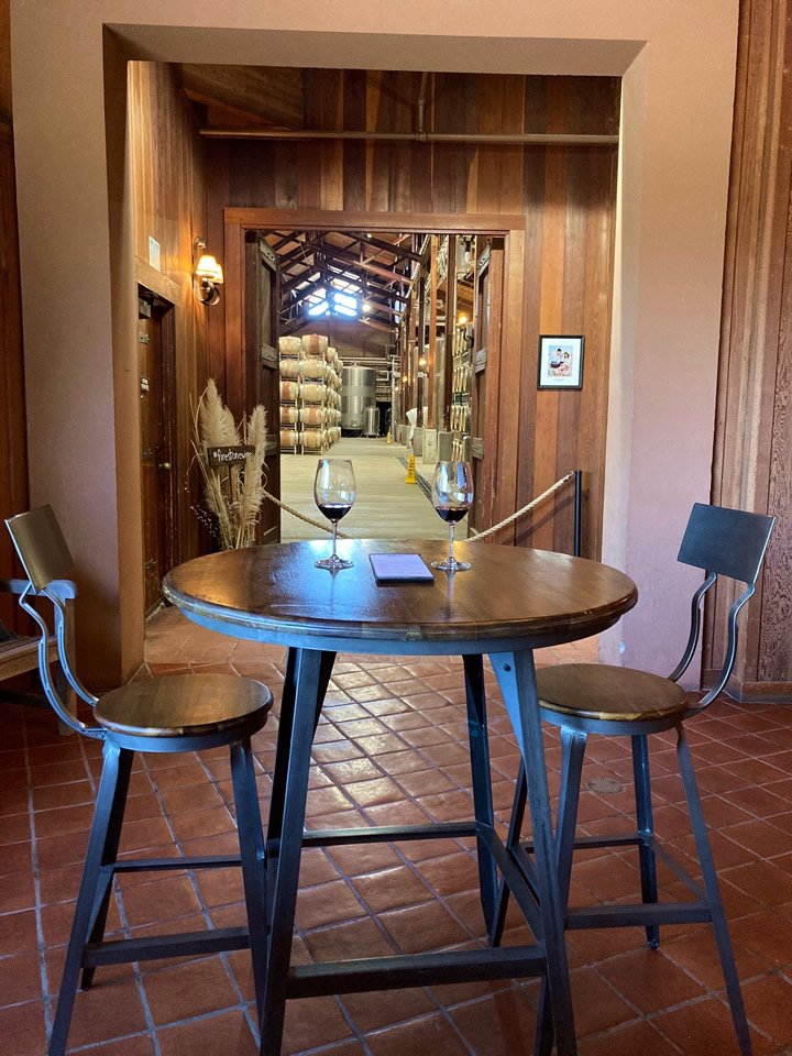 Wine Tasting Table for Two Indoors at Firestone