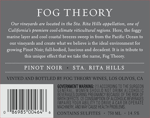 2014 Fog Theory Pinot Noir Back Label