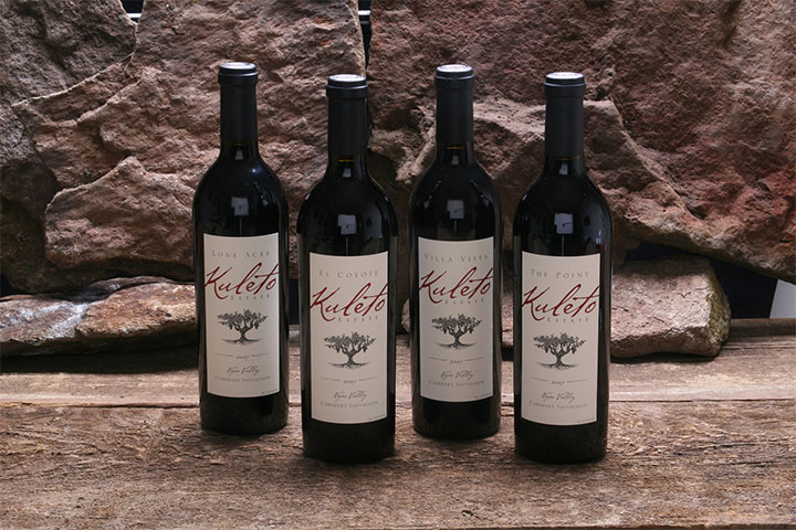 Lineup of Kuleto Estates wines