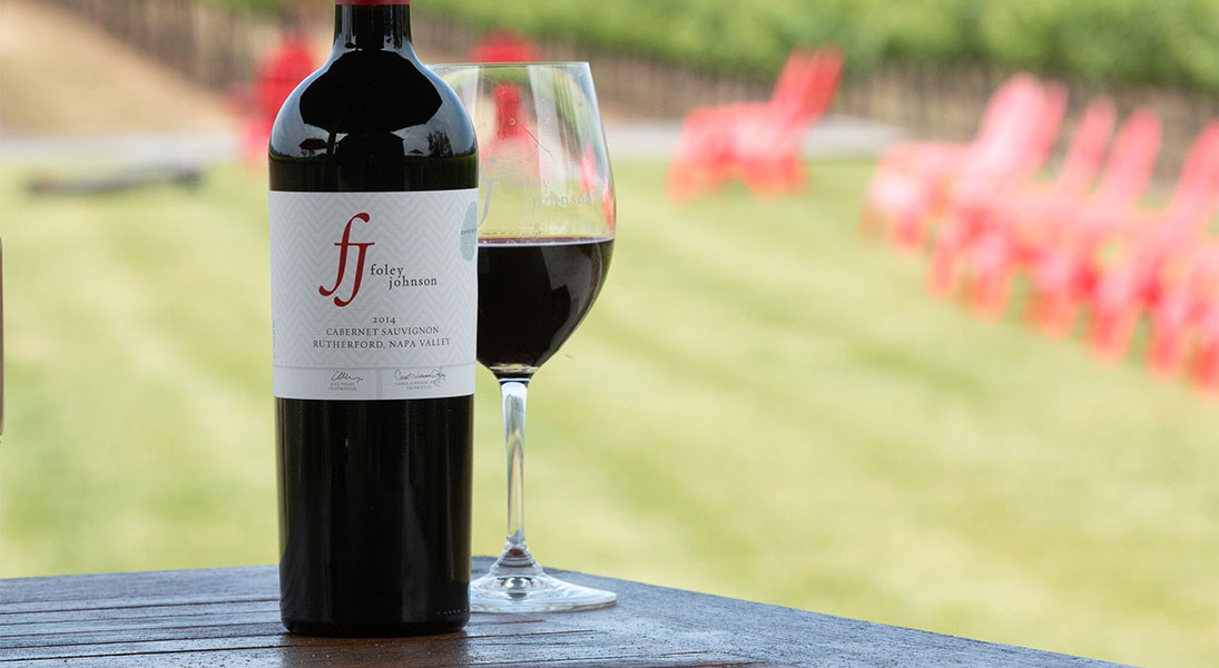 Bottle of Foley Johnson Wine on the Estate Terrace