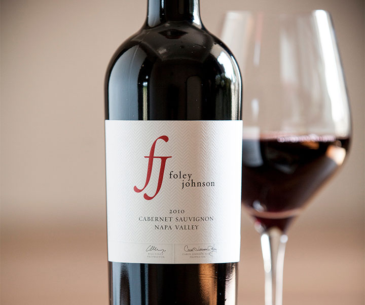 Bottle of Foley Johnson Wine with Glass Of Wine