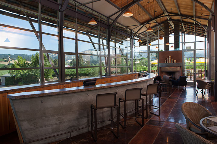 Long Modern Bar in Foley Sonoma Tasting Room
