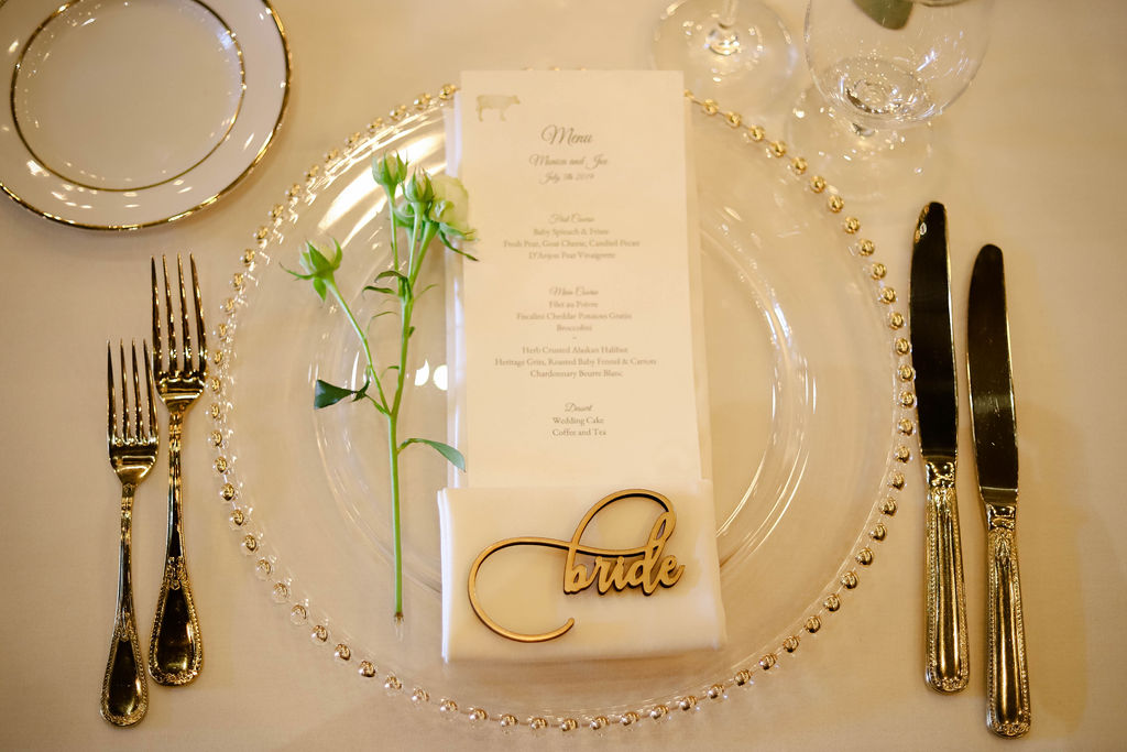 Wedding Menu and Roses on Place Setting