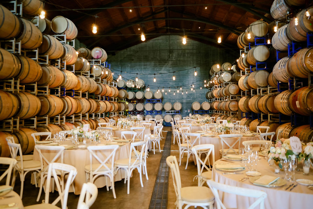 Wedding Reception Dinner Place Setting in Barrel Room