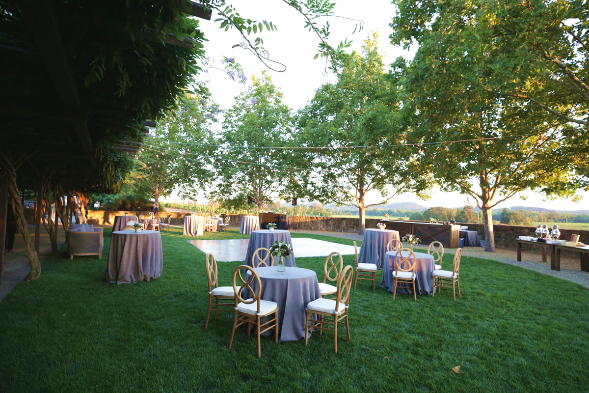 Outdoor Reception Overlooking Vineyards at Foley Sonoma