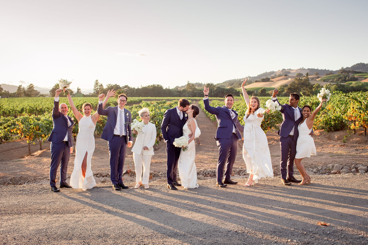 Bridal Party Celebrating a Wedding in the Vineyards