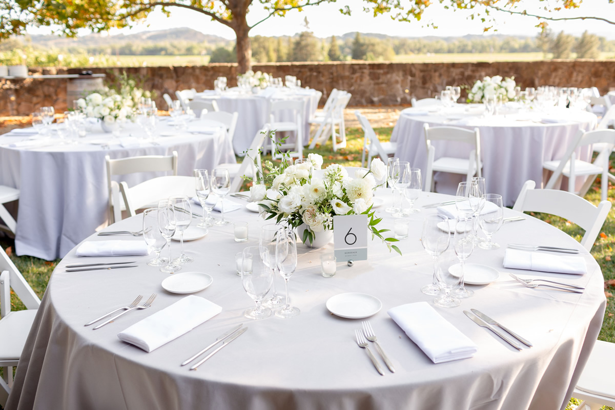 Beautiful White Reception Dinner Setting Outdoors