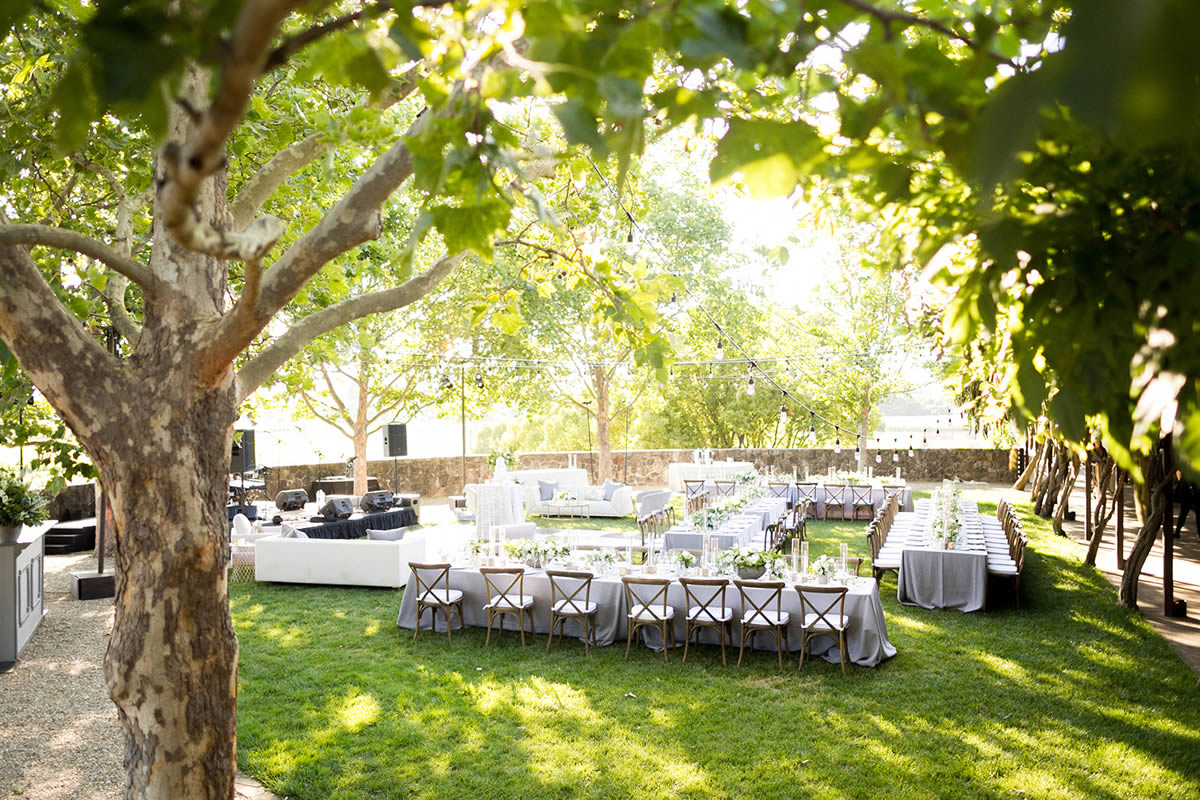 Outdoor Winery Wedding Reception Place Settings