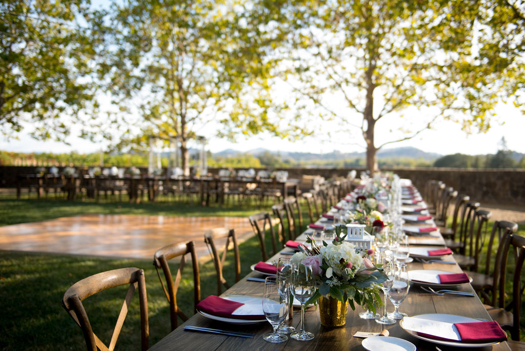 Outdoor Reception Settings with Dance Floor