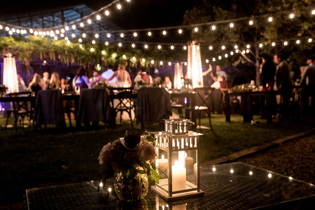 Festive Lights Shine on a Beautiful Outdoor Reception