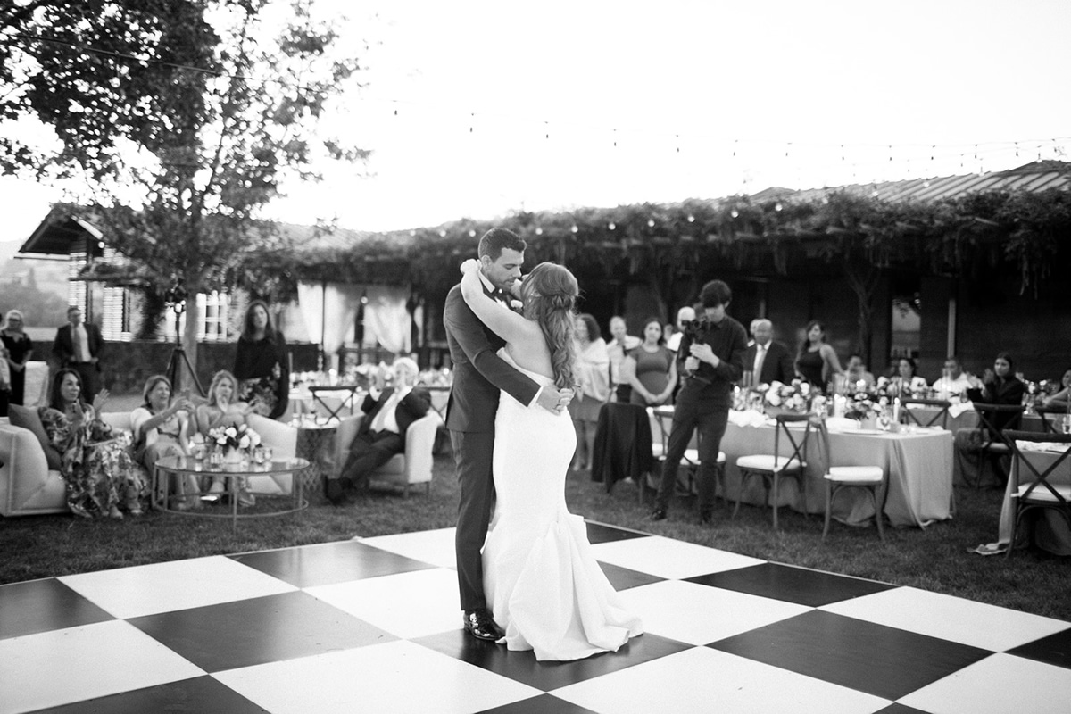 Black & White Photograph of Bride & Groom Dancing
