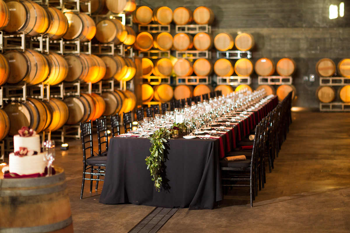 Wedding Table Setting in the Foley Sonoma Barrel Room