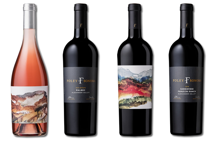Four Bottles of Foley Sonoma Red and White Wines
