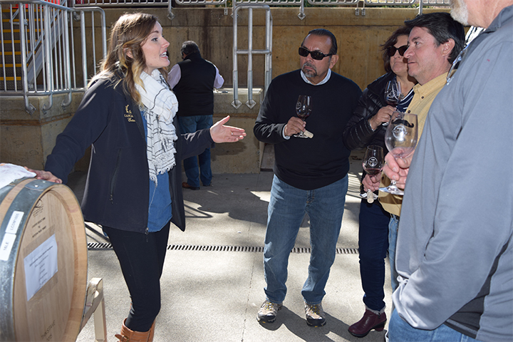 Assistant Winemaker Alicia Sylvester talking with Barrel Tasters about Lancaster Wine.