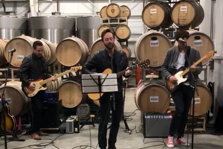 A band playing during Barrel Tasting in the Roth Barrel Room.