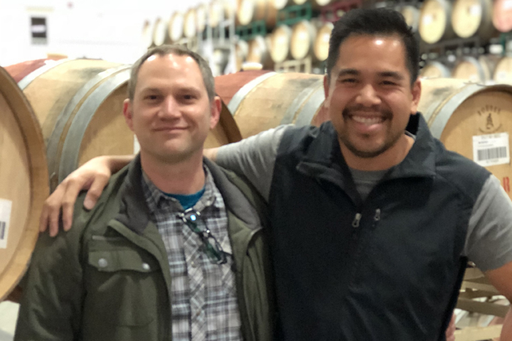 Roth Winemaker John Martin with Lab Tech Christopher Martin.